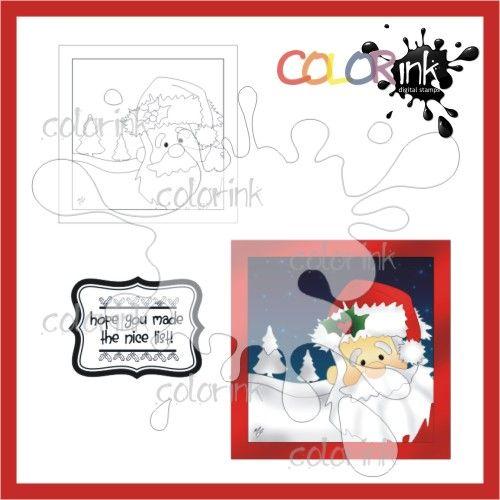 Santa Frame and sentiment Digi stamp