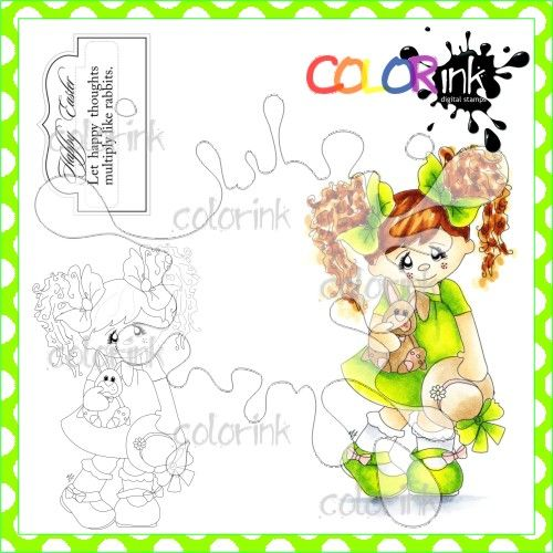Jenny with bunny and sentiment digital stamps