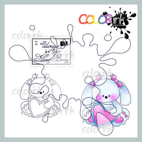 Sitting girl heart bunny and sentiment Digi stamp