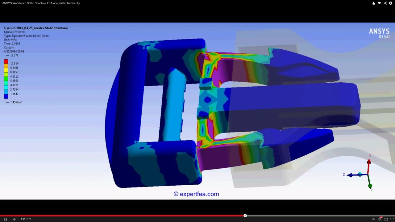 ANSYS Workbench MECHDAT file and 3D model for plastic buckle