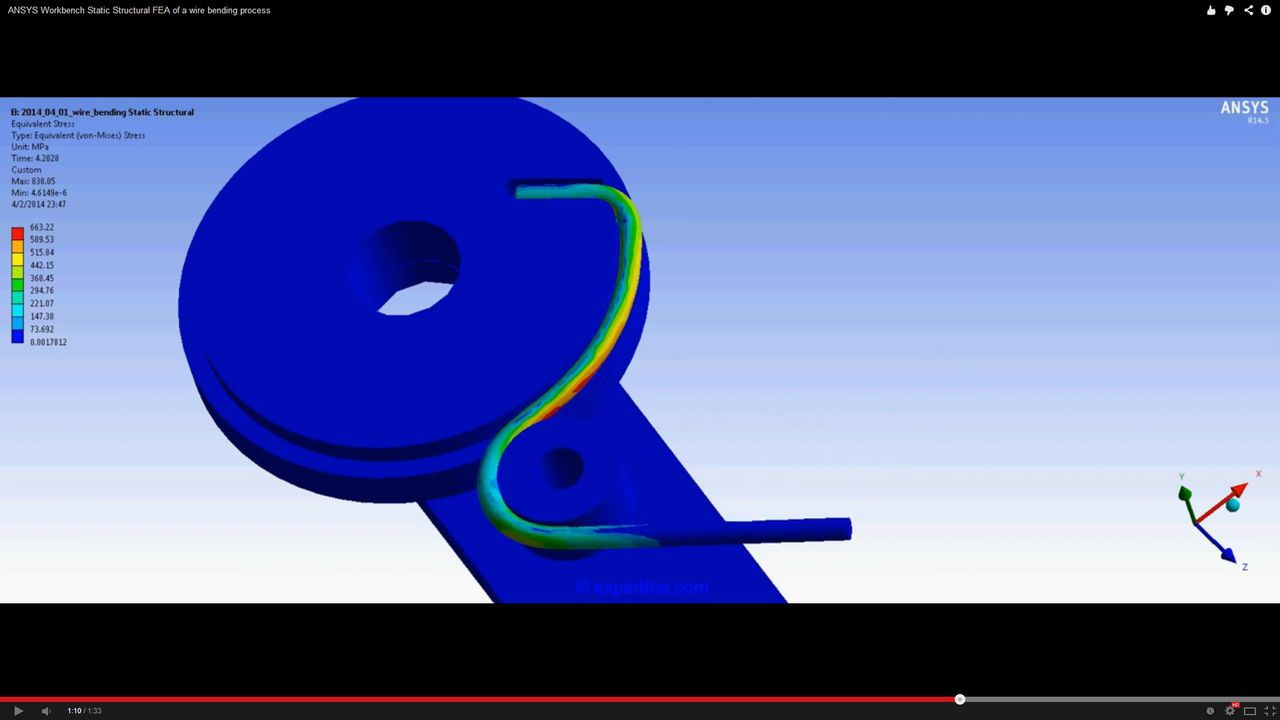 ANSYS Workbench MECHDAT file and 3D model for wire bending