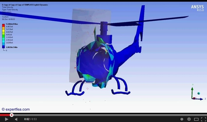 ANSYS Workbench MECHDAT file and 3D model for helicopter - pole crash