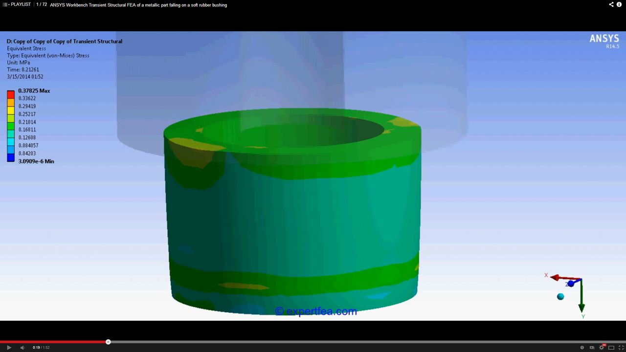 ANSYS Workbench MECHDAT file and 3D model for rubber cylinder