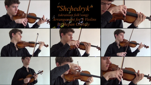 """Shchedryk"" A.K.A ""Carol of The Bells"" by Stepan Grytsay [8 violins]"