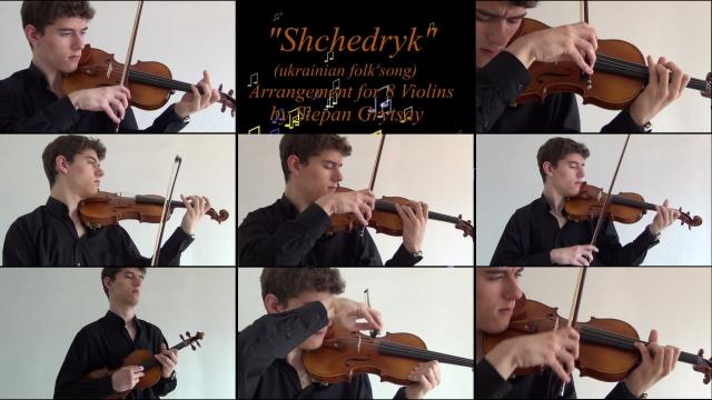 """Shchedryk"" A.K.A ""Carol of The Bells"" by Stepan Grytsay [8 violins]"