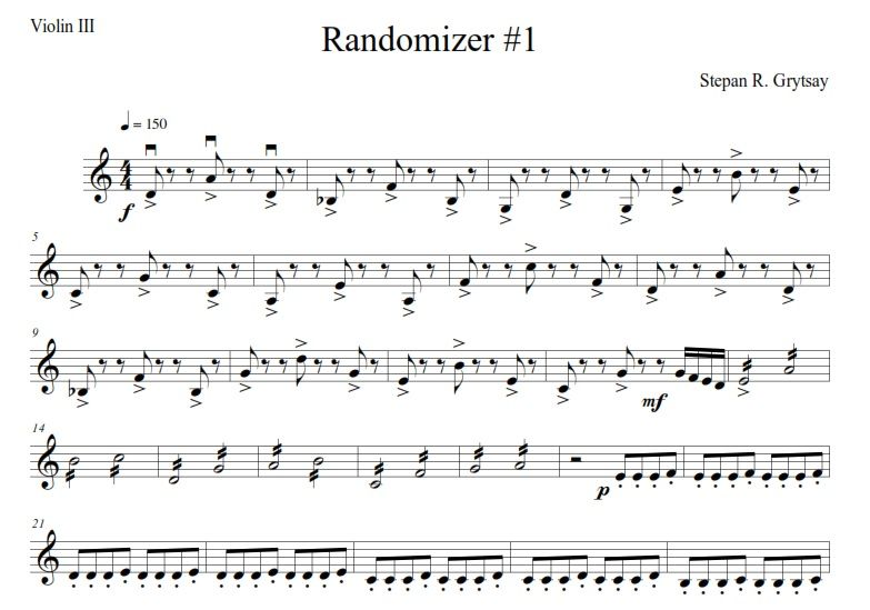 "Quartet ""Randomizer"" by Stepan Grytsay (Score - PDF)."