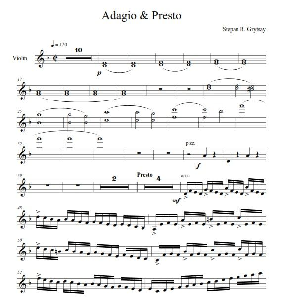 Electro & Presto by Stepan Grytsay. Violin Part - PDF