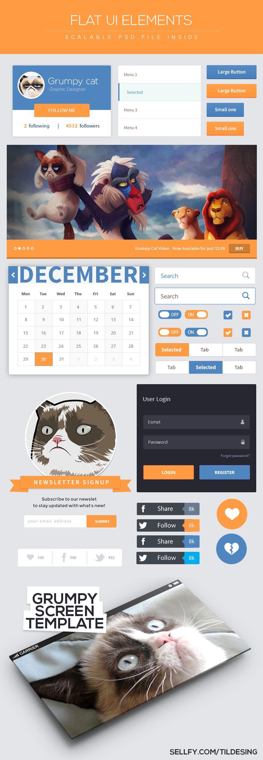 Grumpy cat Flat Ui Kit