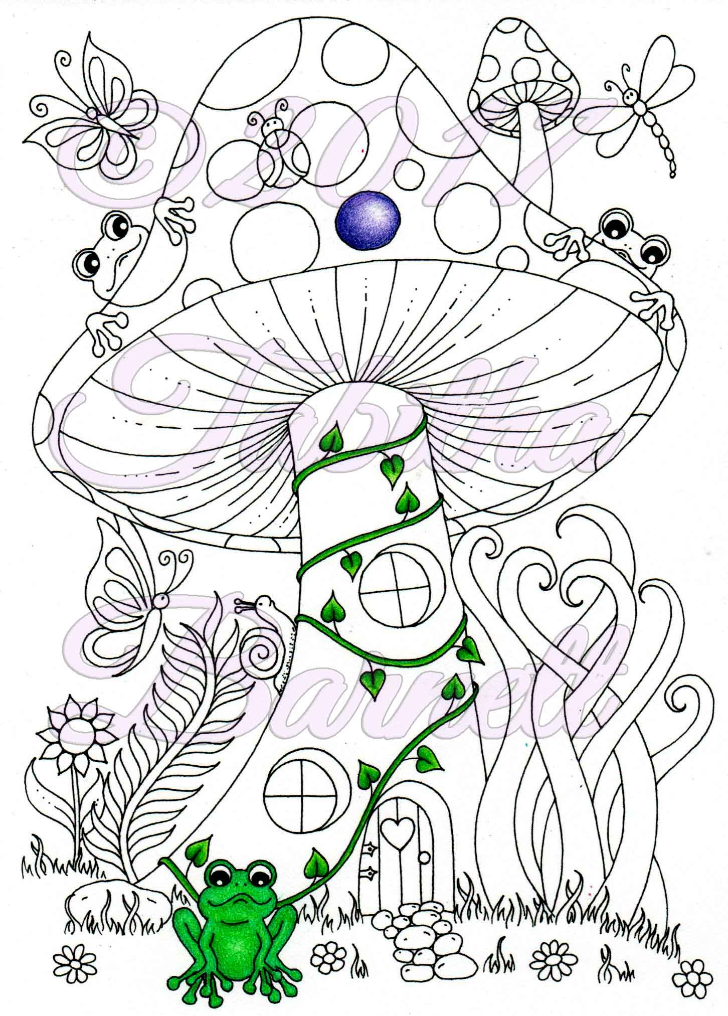 Fiary Mushroom House Adult Coloring Page JPG