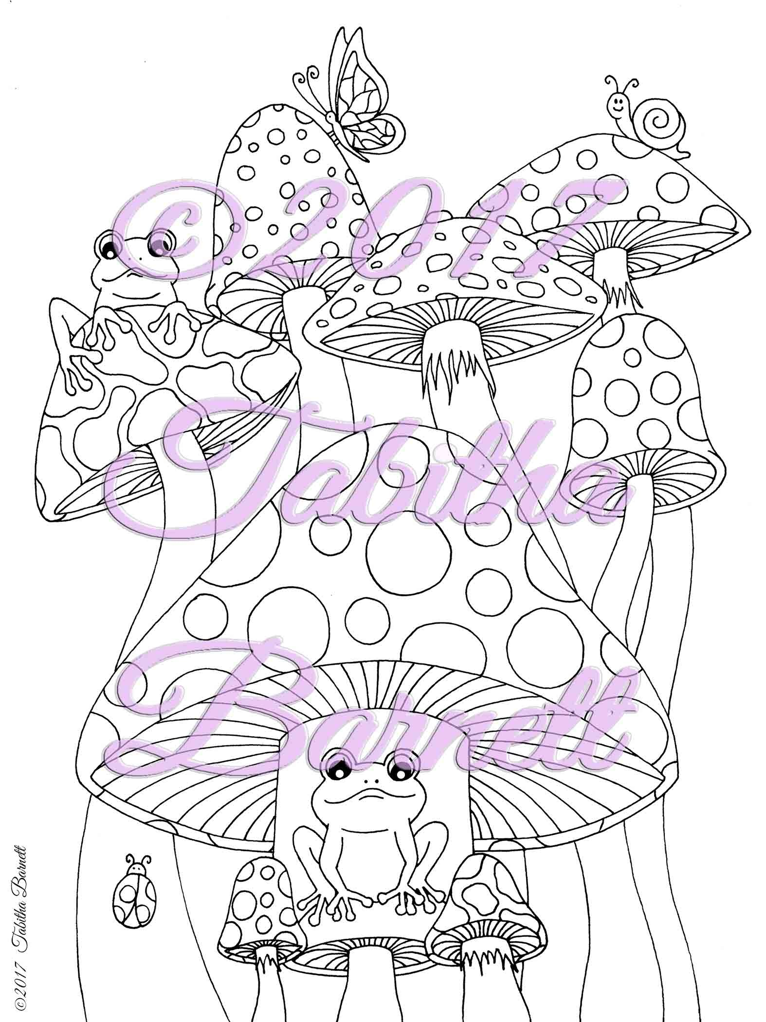 Shrooms and Frogs Adult Coloring Page JPG