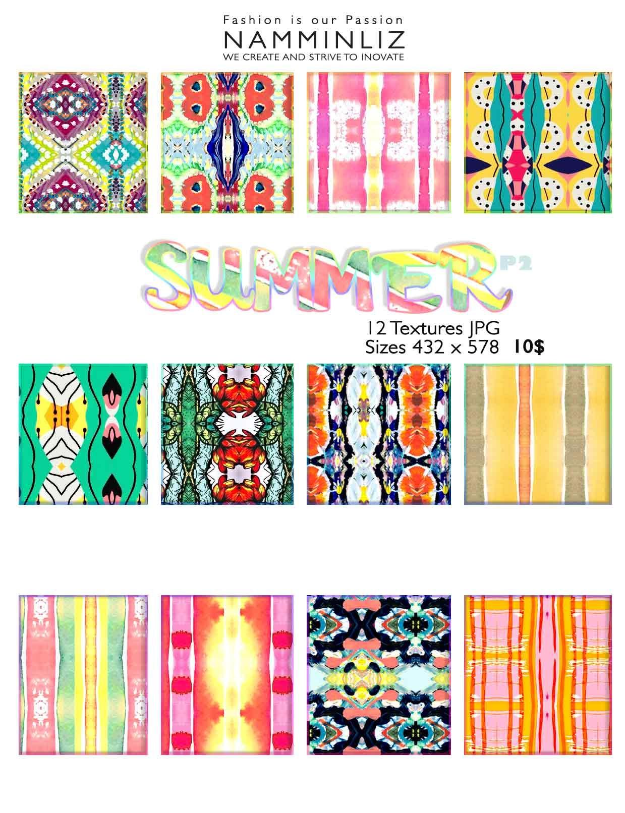 Summer Textures P2  • 12 Textures JPG imvu NAMMINLIZ