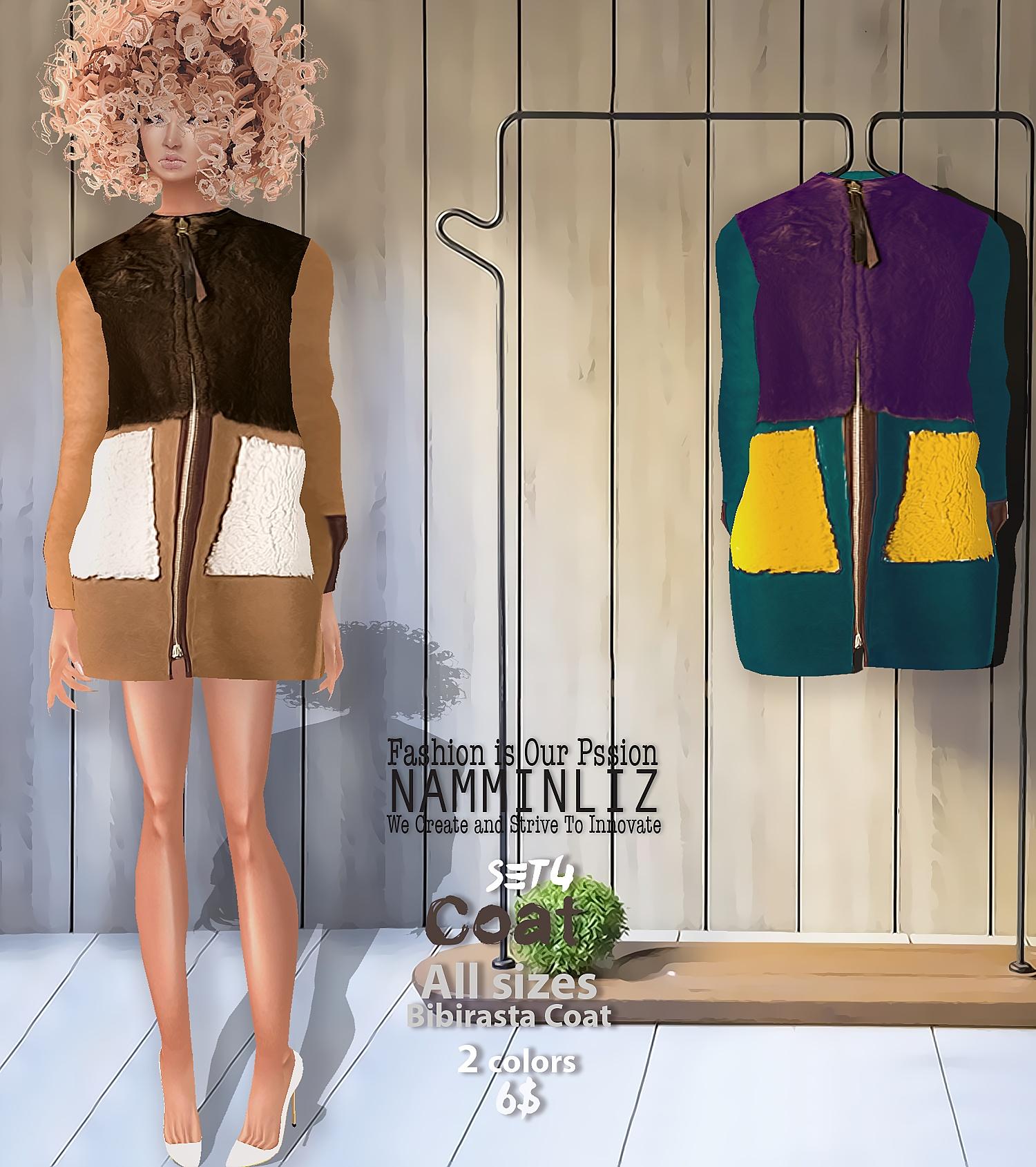 Coat SET4  Bibirasta Coat  All sizes w/ 2 Different colors