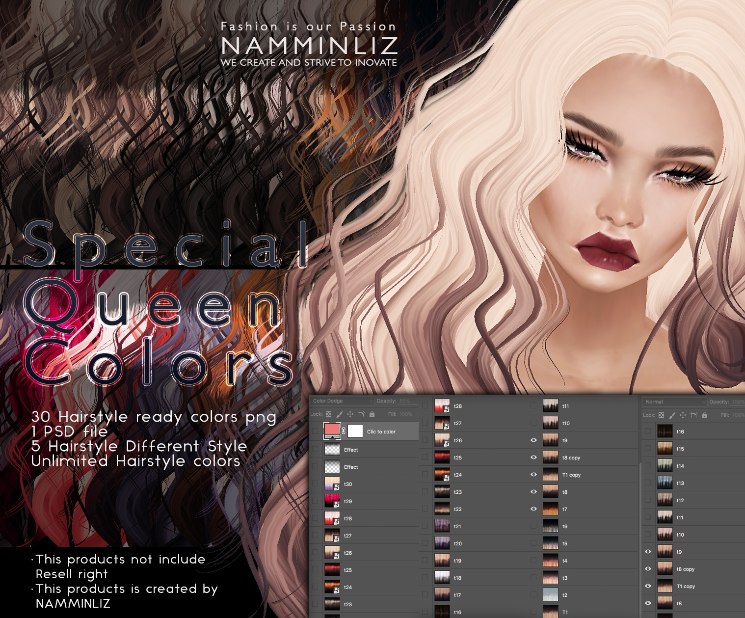 Special Queen Colors PSD •30 Hairstyle Textures •5 Hairstyle Style