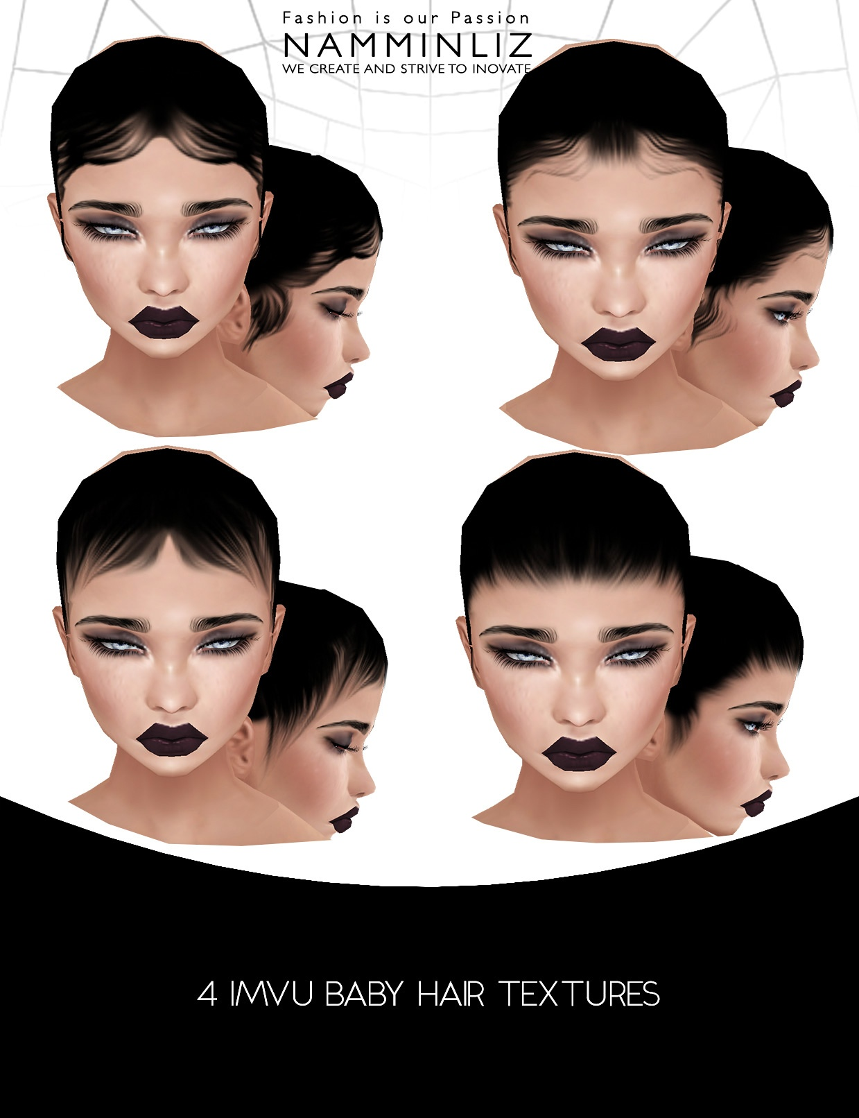 New Baby hair 2017 HD Front Female • 4 Baby hair Opacity • 7 Hair Textures