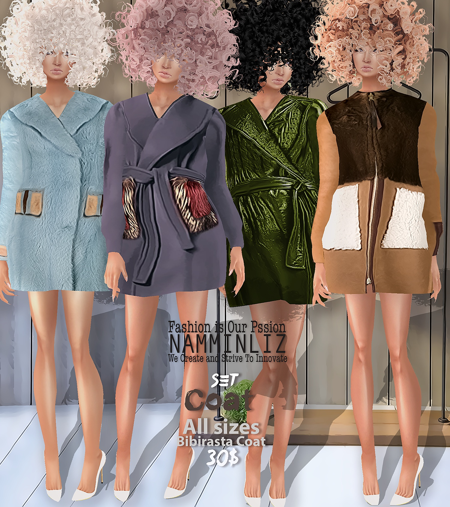 Coat SET1  Bibirasta Coat  All sizes w/ 3 Different colors