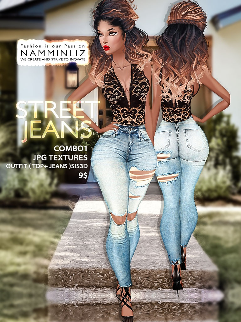 Street Jeans full combo Textures JPG Outfits ( 4 Tops+ 4 Jeans ) Sis3d