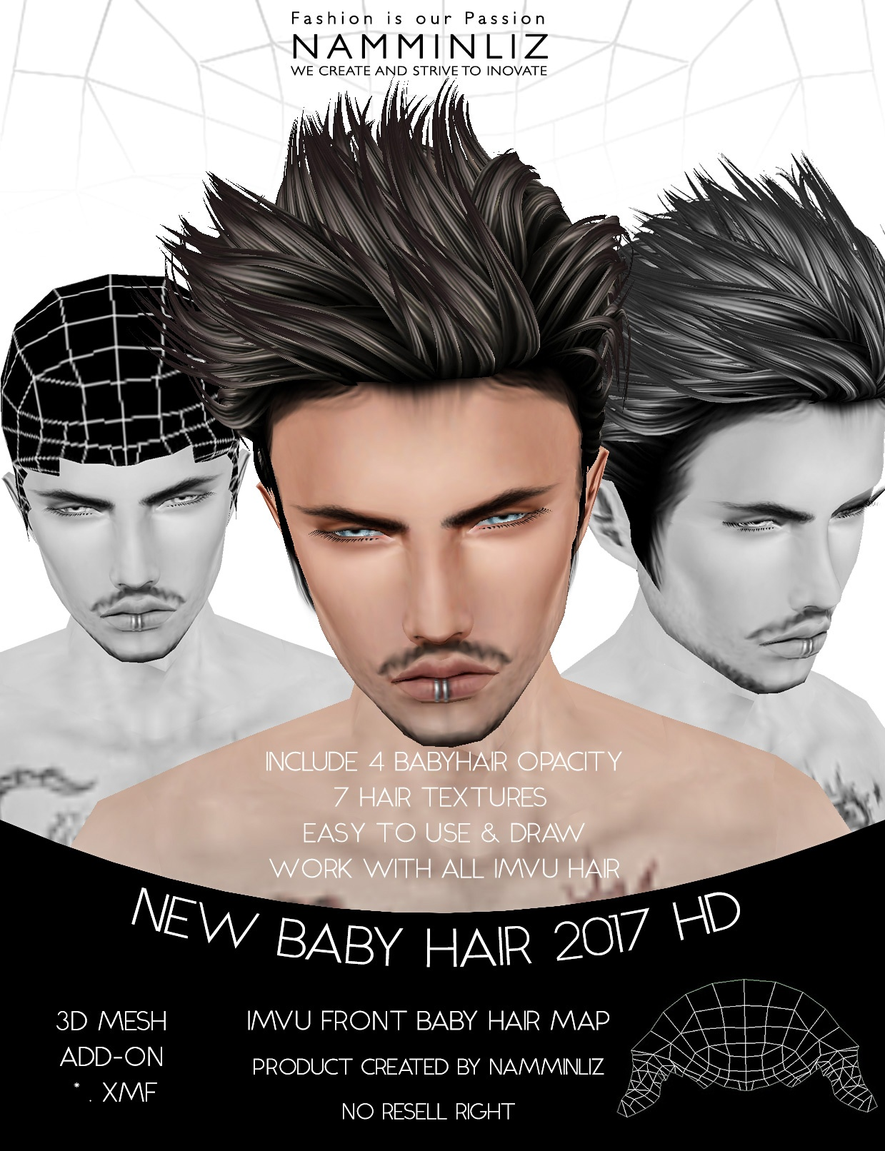 New Baby hair 2017 HD Front Male • 4 Baby hair Opacity • 7 Hair Textures