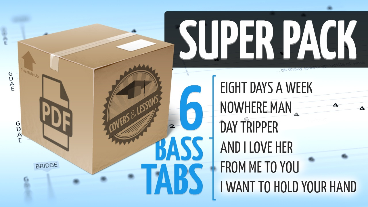 Super Pack - 6 Premium Beatles Bass Tabs