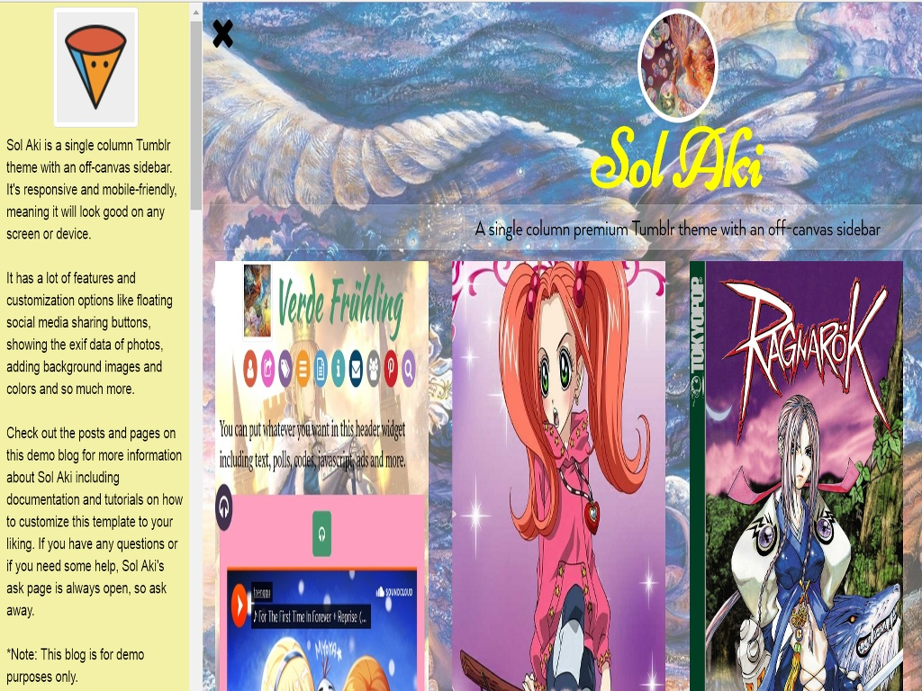 Sol Aki Tumblr Theme made by Freya Yuki