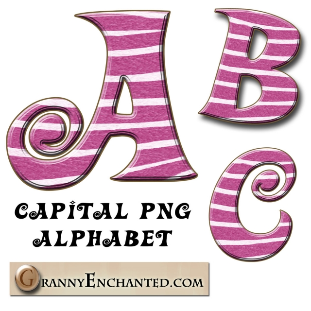 Pink Zebra Print PNG Capital Alphabet