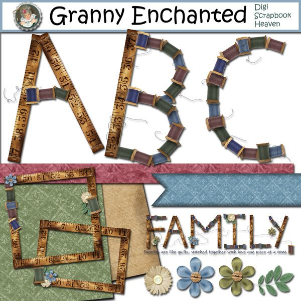 """Sewing"" Alphabet and Digital Scrapbook Kit from Granny Enchanted"