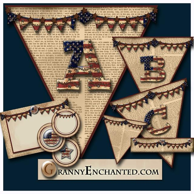 Newsprint Americana Flag Banner Alphabet From Granny Enchanted