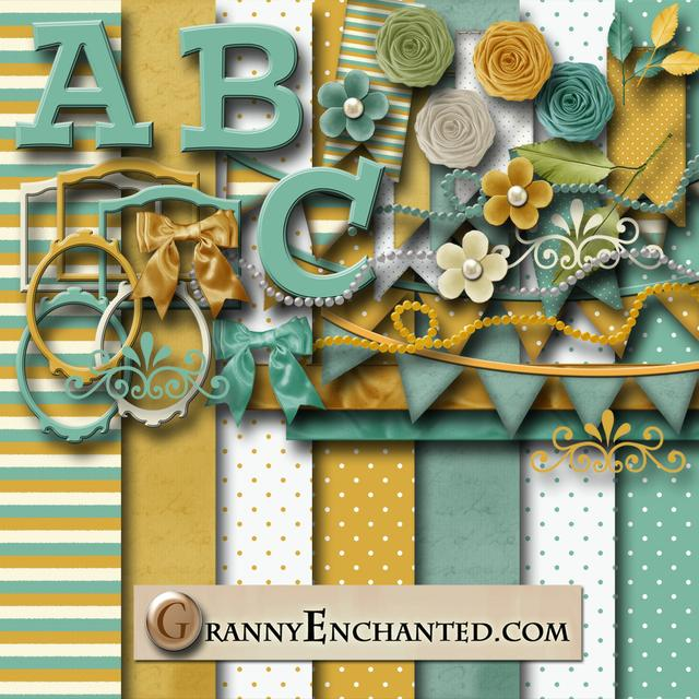 Granny Enchanted's Teal and Gold Kit 43