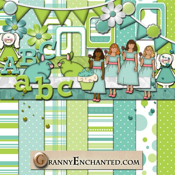 """Teal Lime"" Digital Scrapbook Kit from Granny Enchanted"