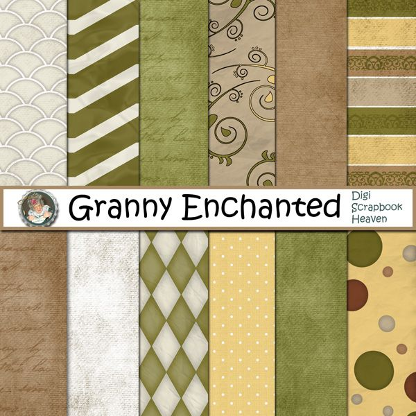 """Bumble"" digital scrapbook papers (103) from Granny Enchanted"