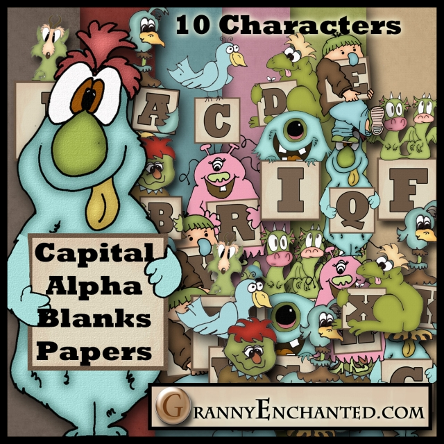 Granny Enchanted's Monster Alphabet and Papers