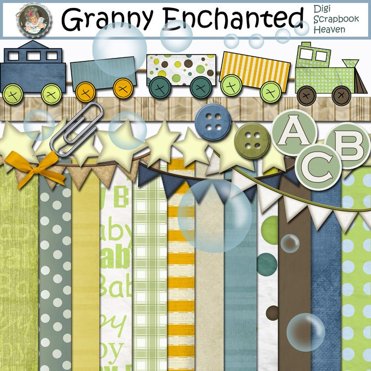 """Bubble Train"" Digital Scrapbook Kit from Granny Enchanted"