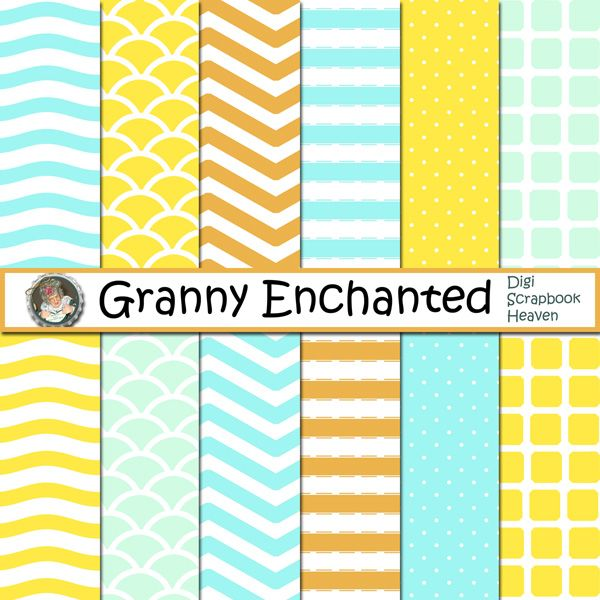 """Daisy Teal"" Digital Scrapbook Paper Pack from Granny Enchanted"
