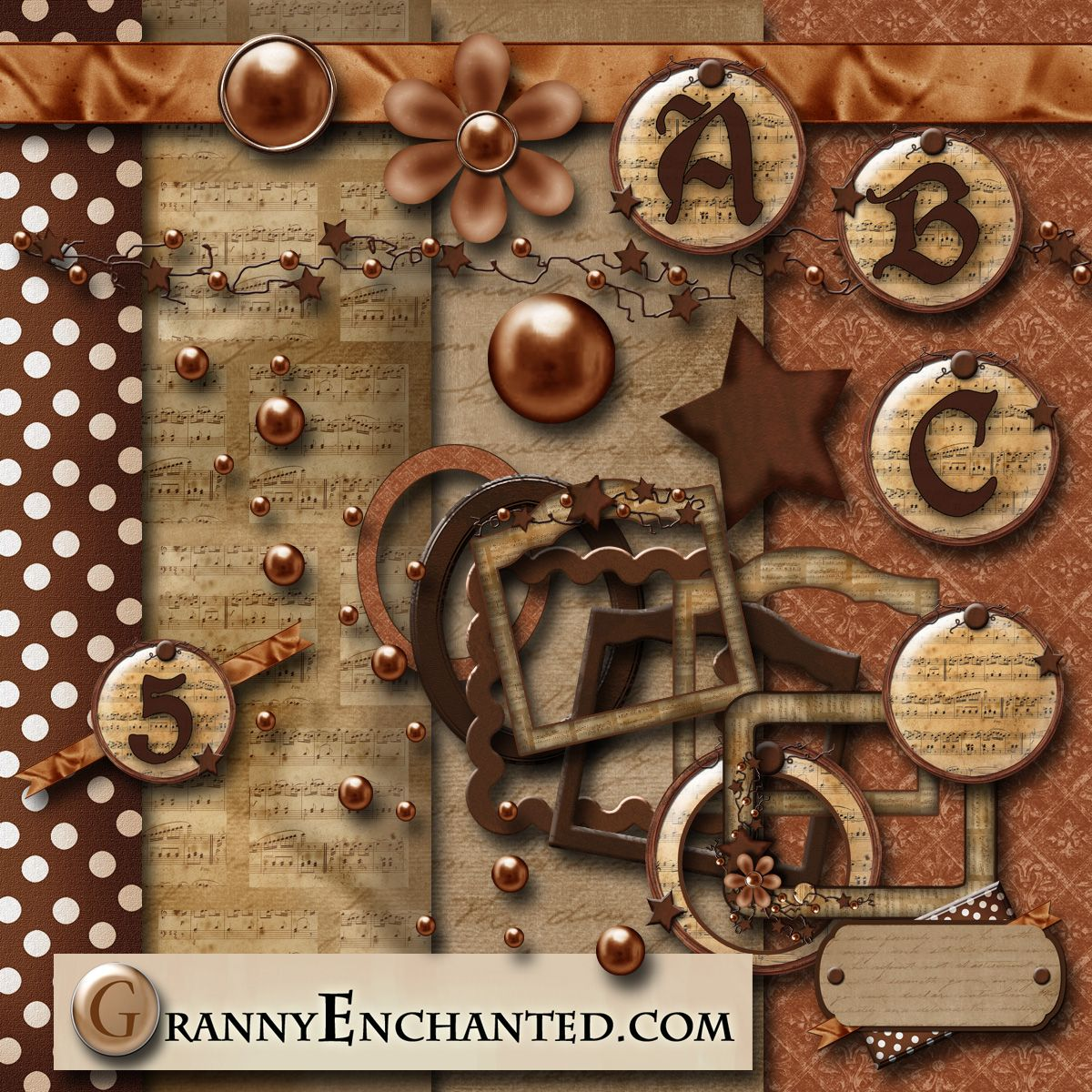 """Rusty Music"" Digital Scrapbook Kit from Granny Enchanted"