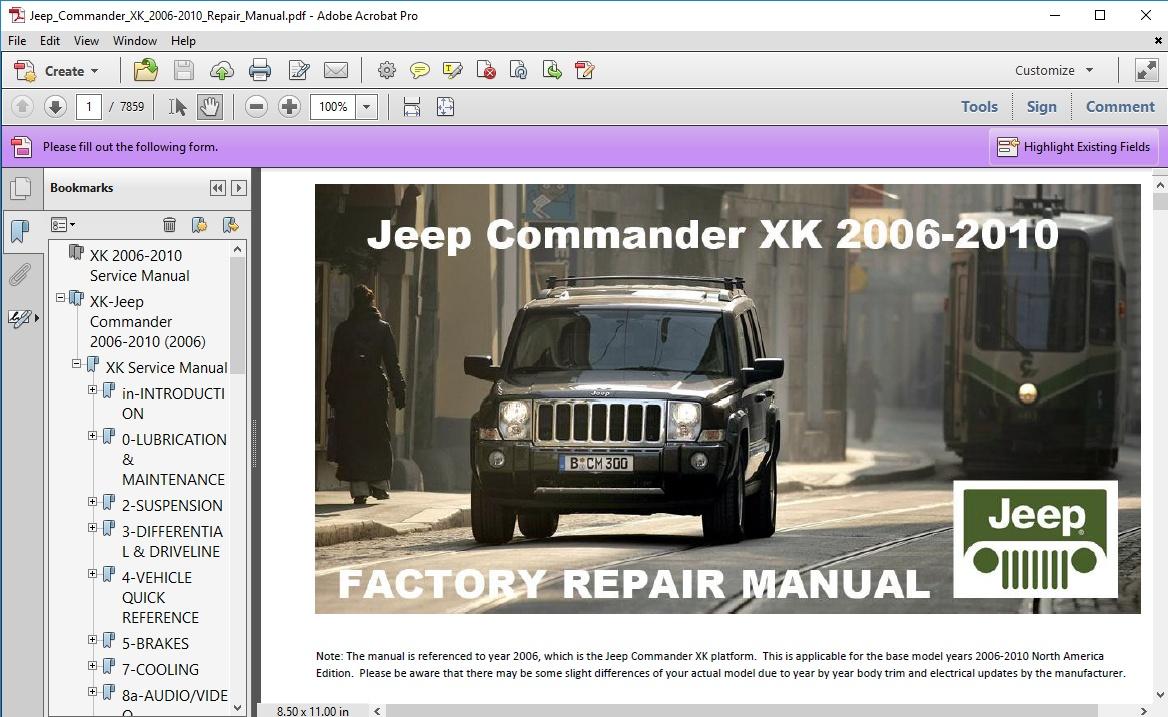 2006 jeep commander service manual