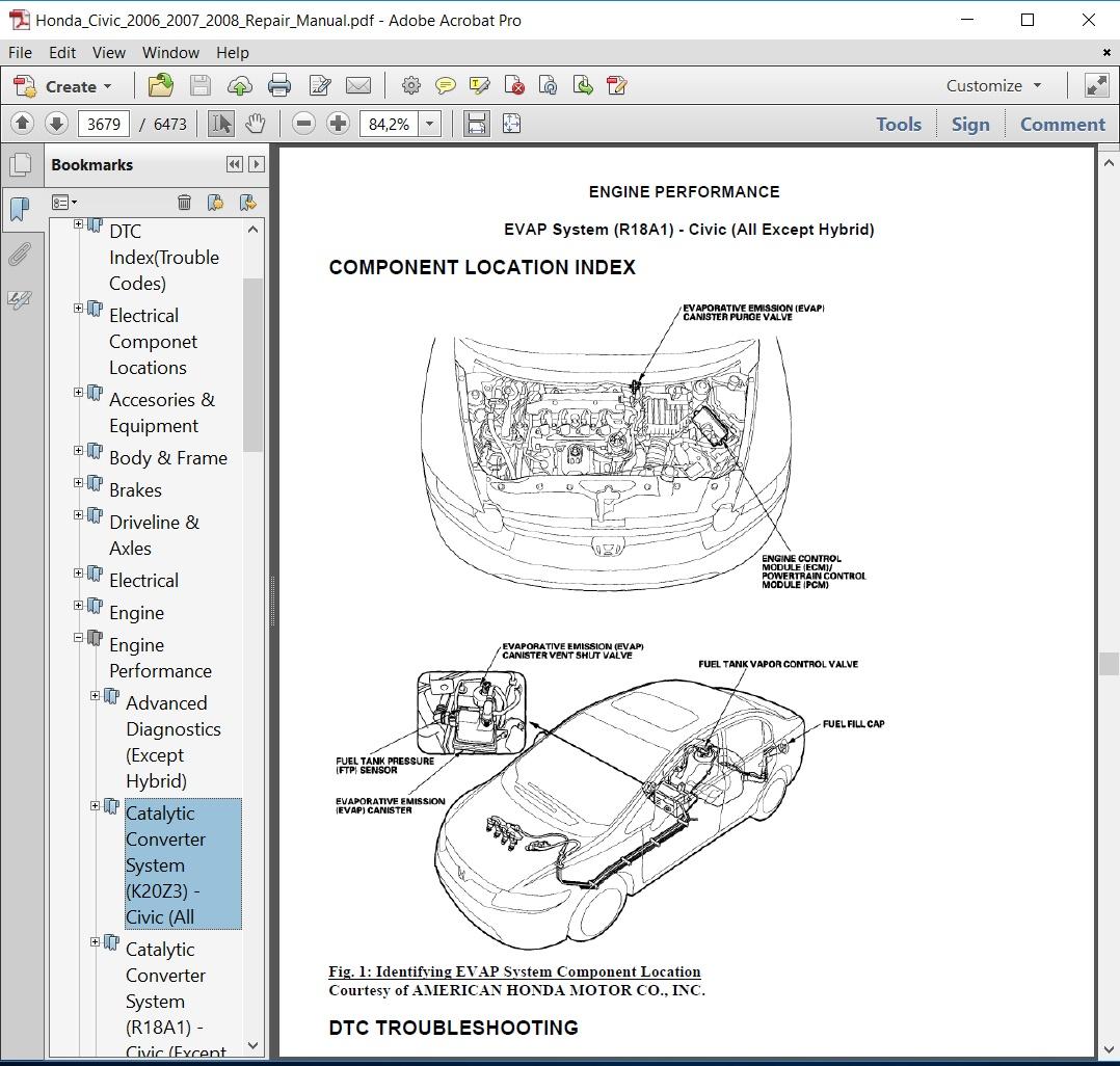 Honda Civic 2006 2007 2008 Repair Manual Interior Wiring Diagram Service Covers