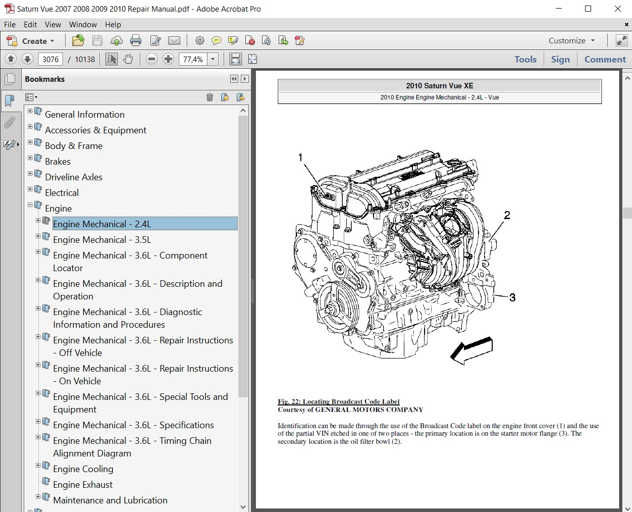 Saturn Vue 2007 2008 2009 2010 Repair Manual