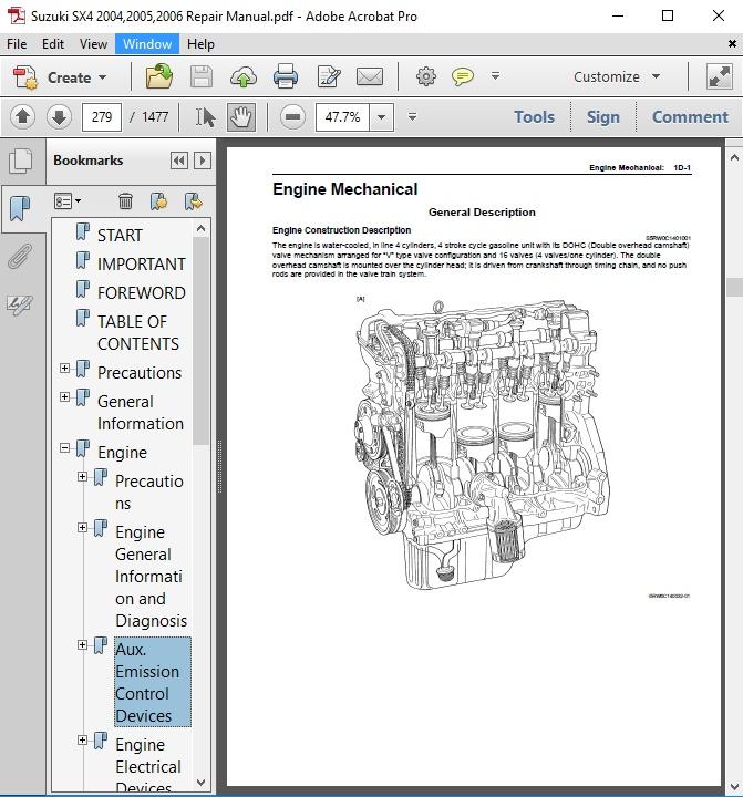 suzuki sx4 engine diagram suzuki sx4 2004 2005 2006 repair manual autoservicerepair  suzuki sx4 2004 2005 2006 repair manual