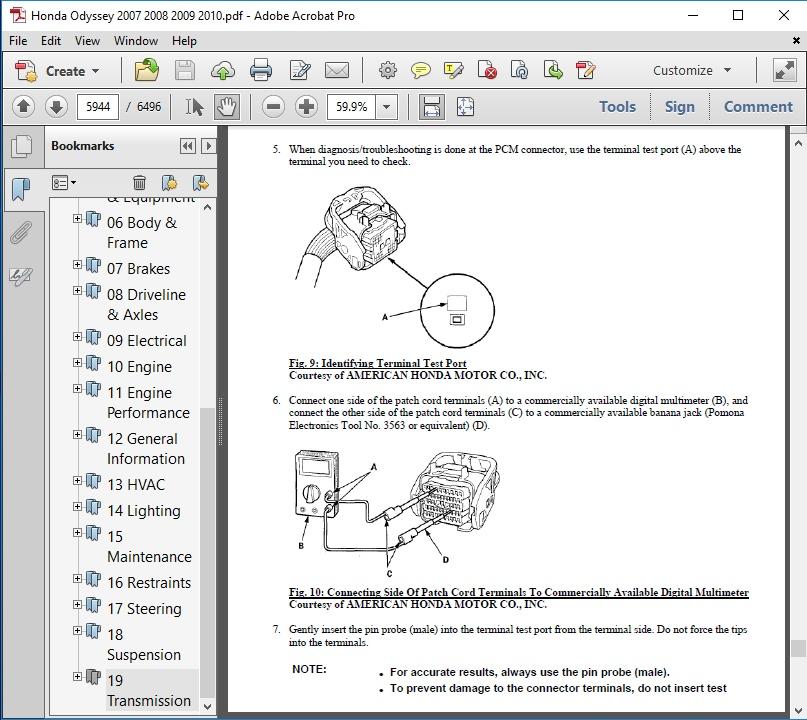 Honda Odyssey 2007 2008 2009 2010 Repair Manual