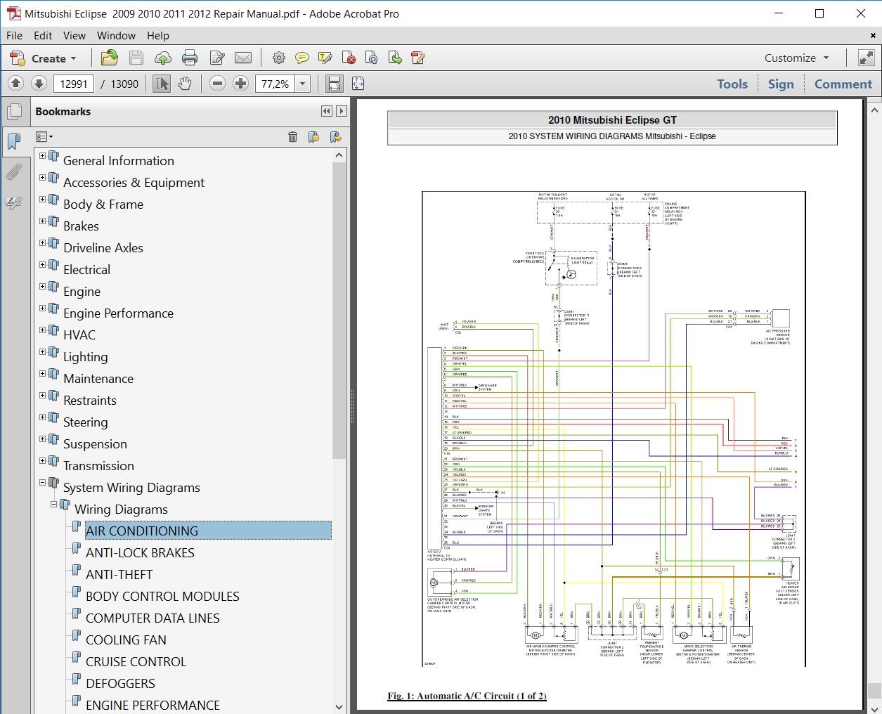 Mitsubishi Eclipse 2009 2010 2011 2012 Repair Manual Transmission Diagrams Service Covers