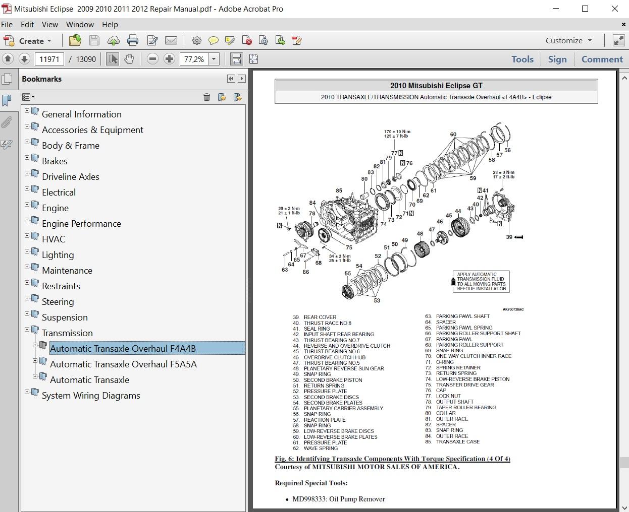 Mitsubishi Eclipse 2009 2010 2011 2012 Repair Manual ...