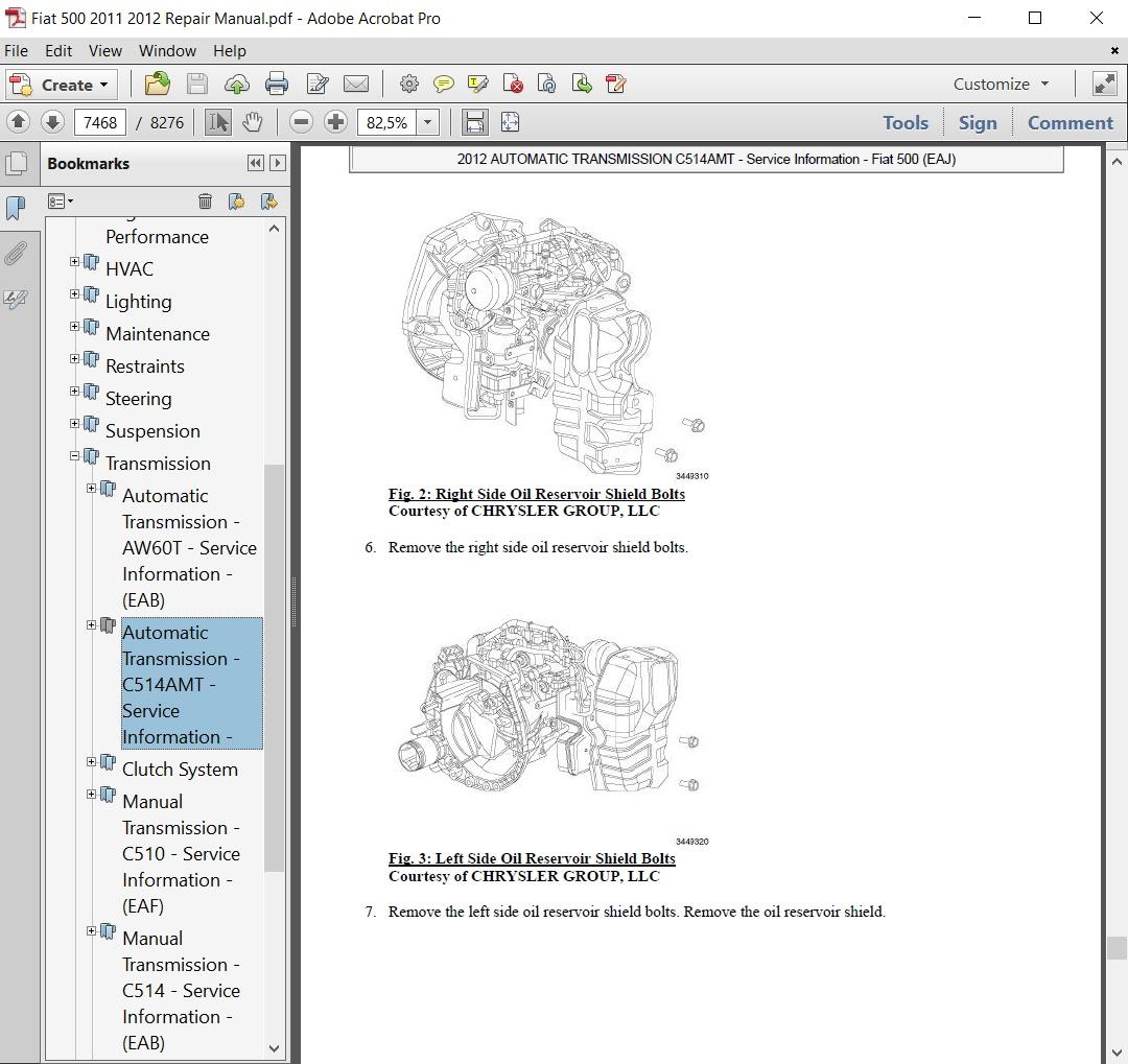 Fiat 500 2011 2012 Repair Manual Autoservicerepair Transmission Clutch Diagram Auto Service Covers
