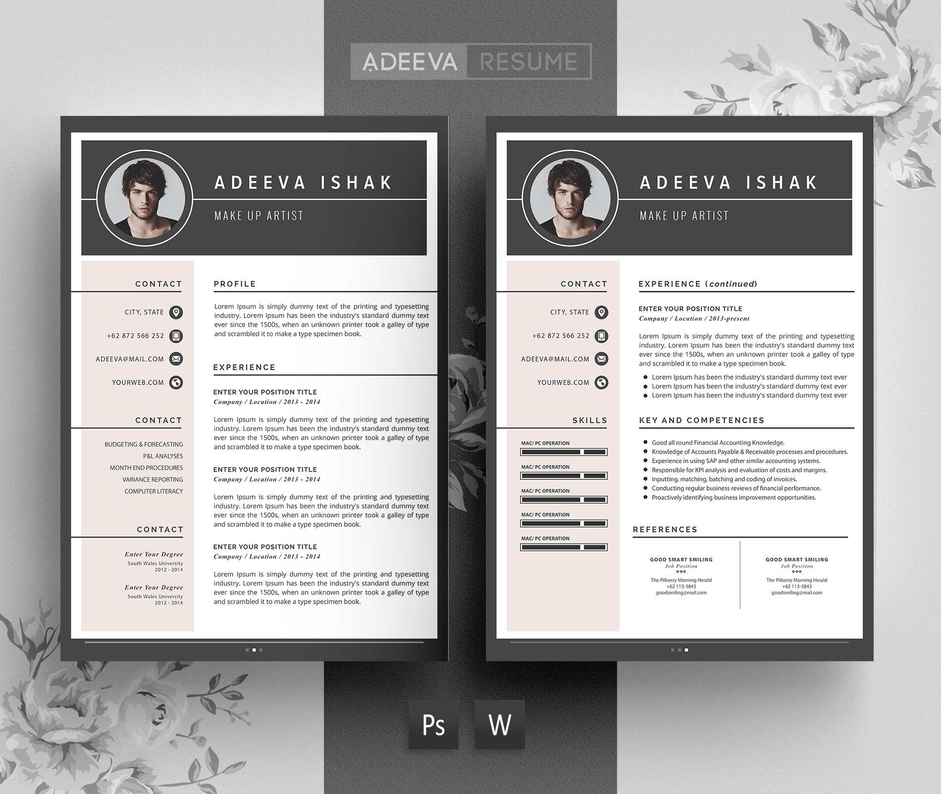 Professional Resume Templates Free: Professional Resume Template / CV Template