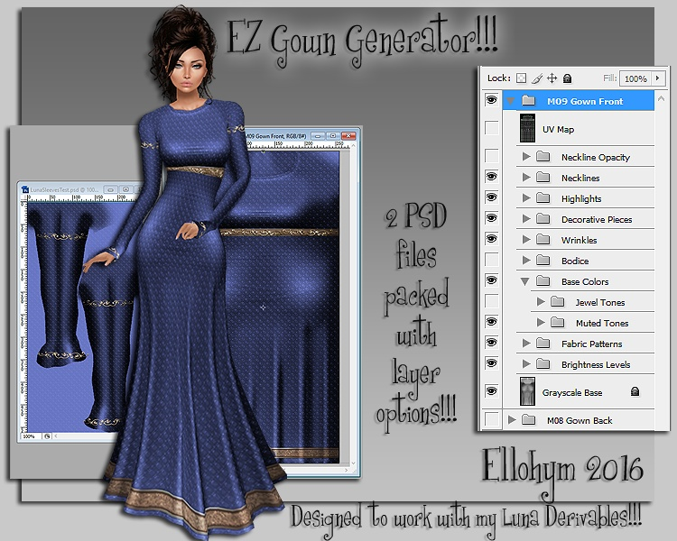 Ellohym - EZ Gown Generator - Fully Layered PSD Files