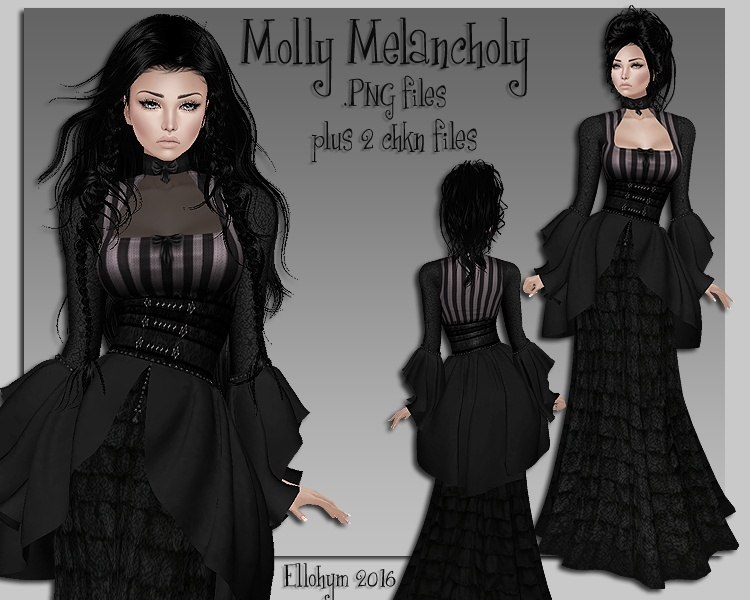 Ellohym - Molly Melancholy Gown - .PNG plus .Chkn Files