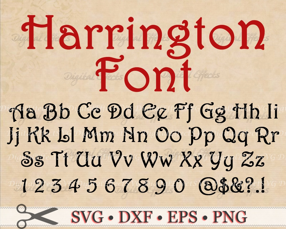 HARRINGTON FONT SVG FILES
