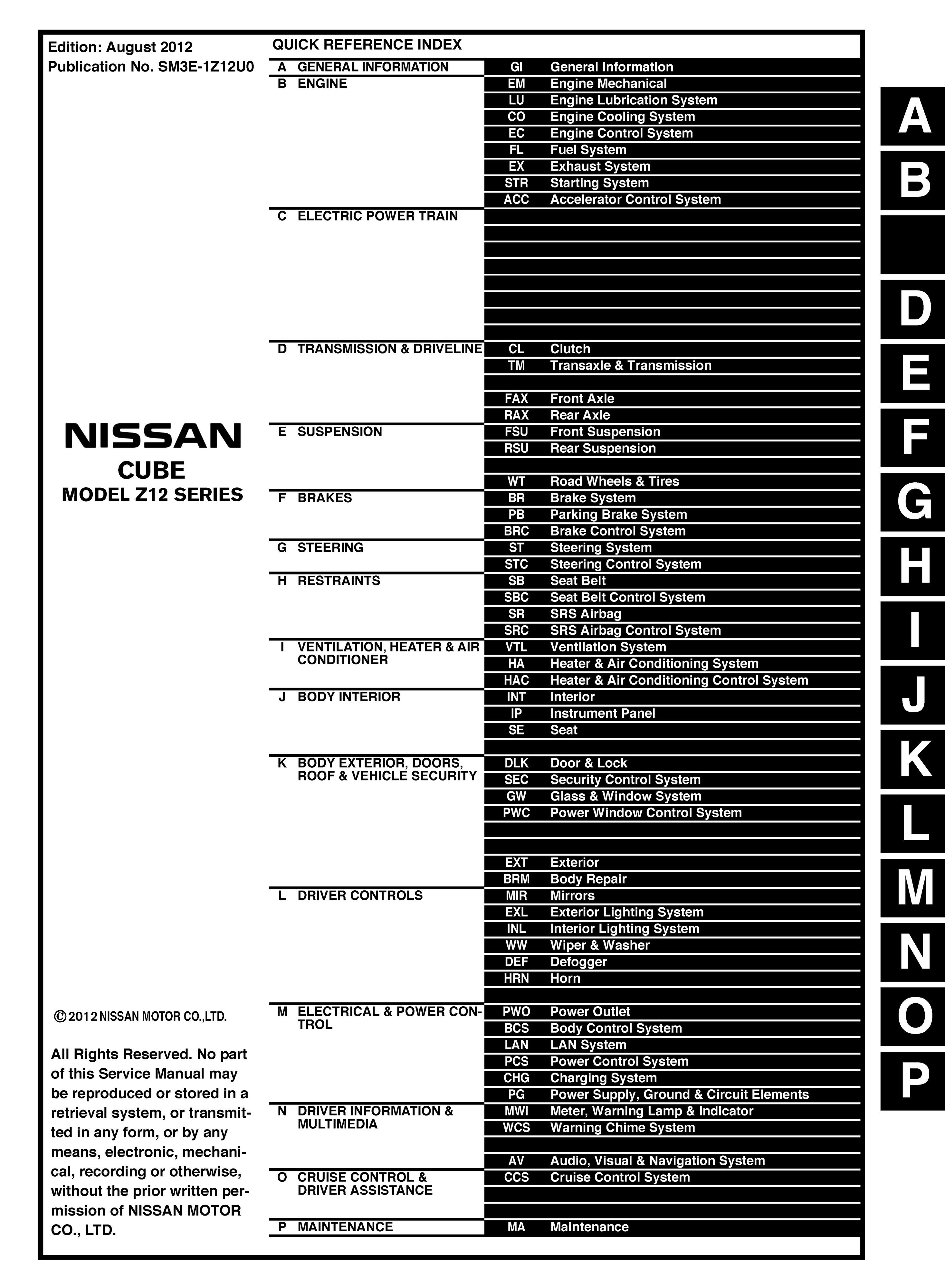 2013 Nissan Cube Original OEM Workshop Service and Rep - OEM Auto