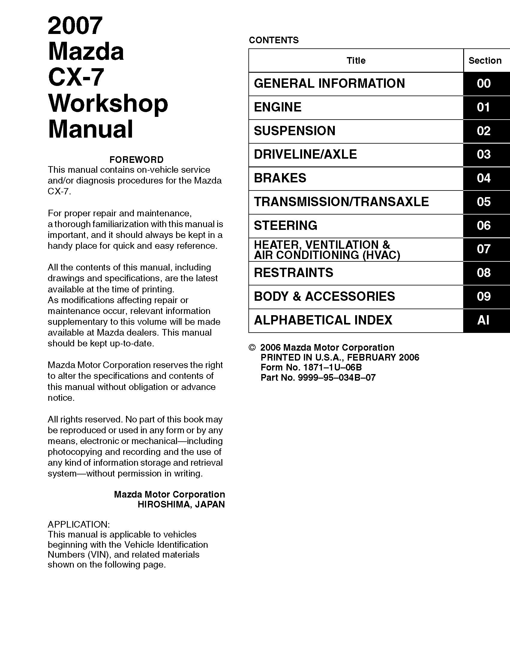 2007 mazda cx 7 oem workshop service and repair manual rh sellfy com CX -5 Mazda 2007 Mazda CX-9
