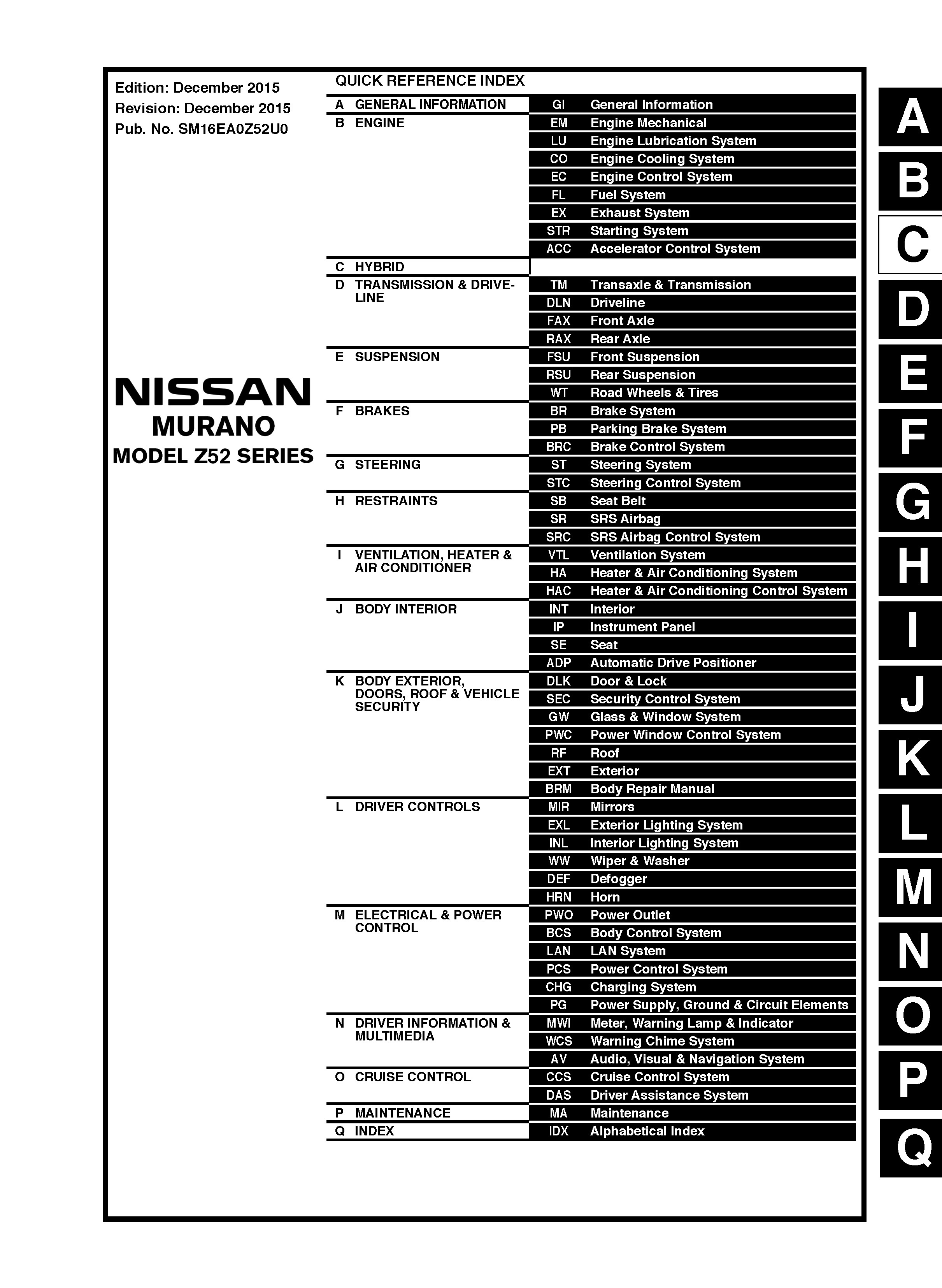 2016 Nissan Murano, Model Z52 Series, OEM Service and - OEM