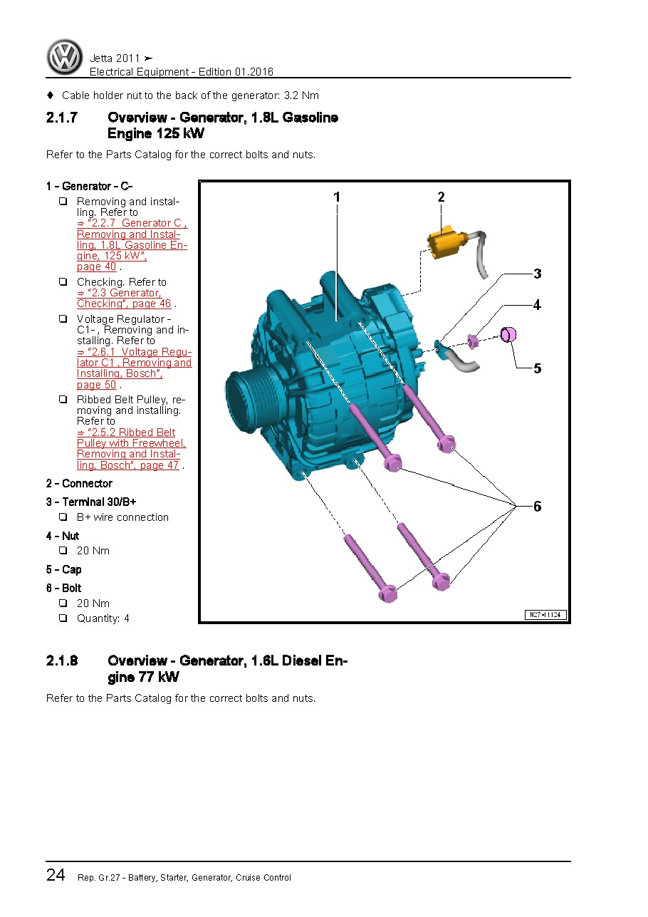 2011 Volkswagen Jetta  Oem Service Of Electrical Syste