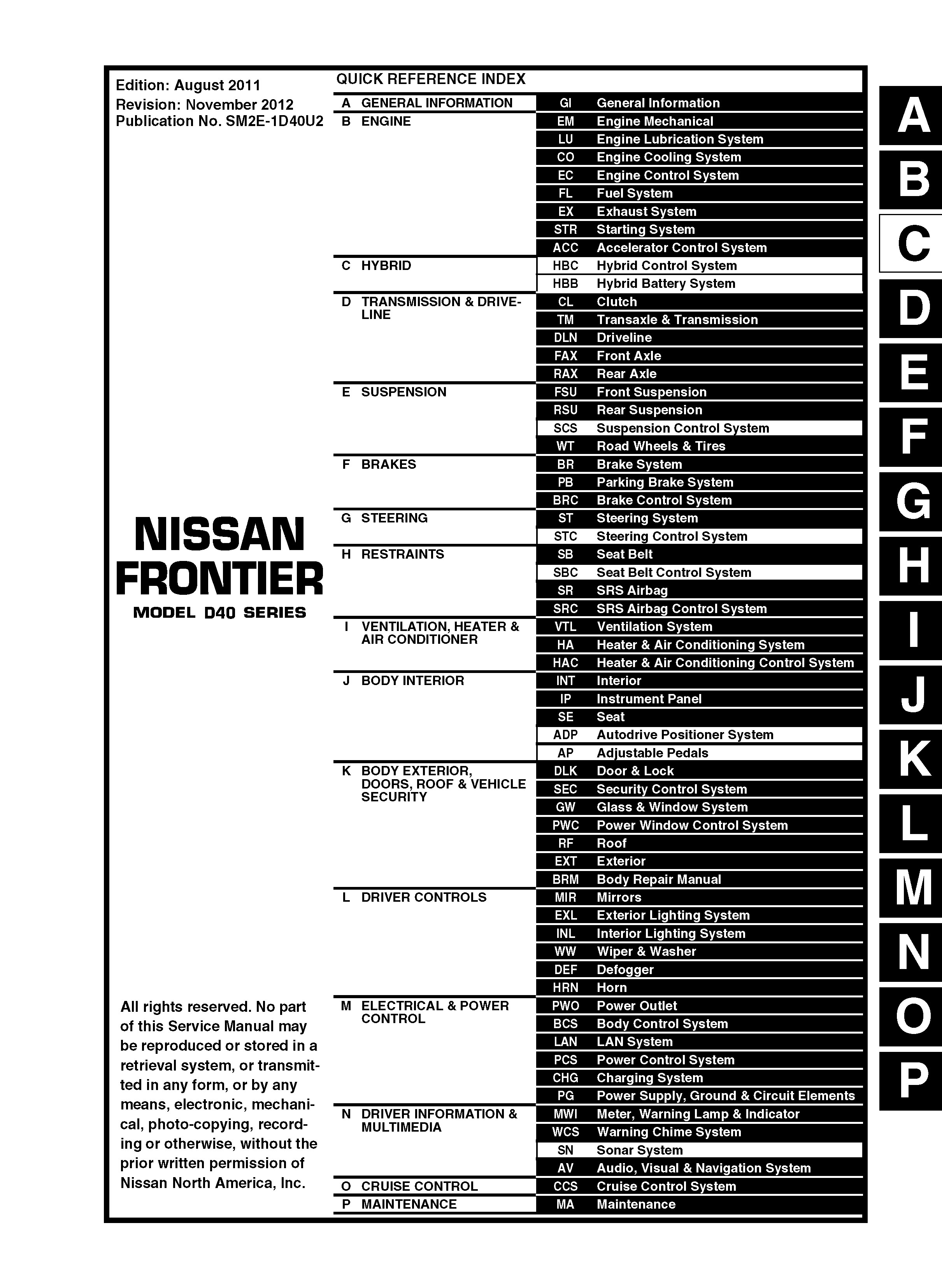 2012    Nissan FrontierD40  OEM Service and Repair Manua  OEM Auto Repair Manuals